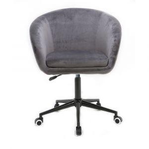 Židle VENICE VELUR na černé podstavě s kolečky - šedá