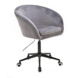 Židle VENICE VELUR na černé podstavě s kolečky - světle šedá