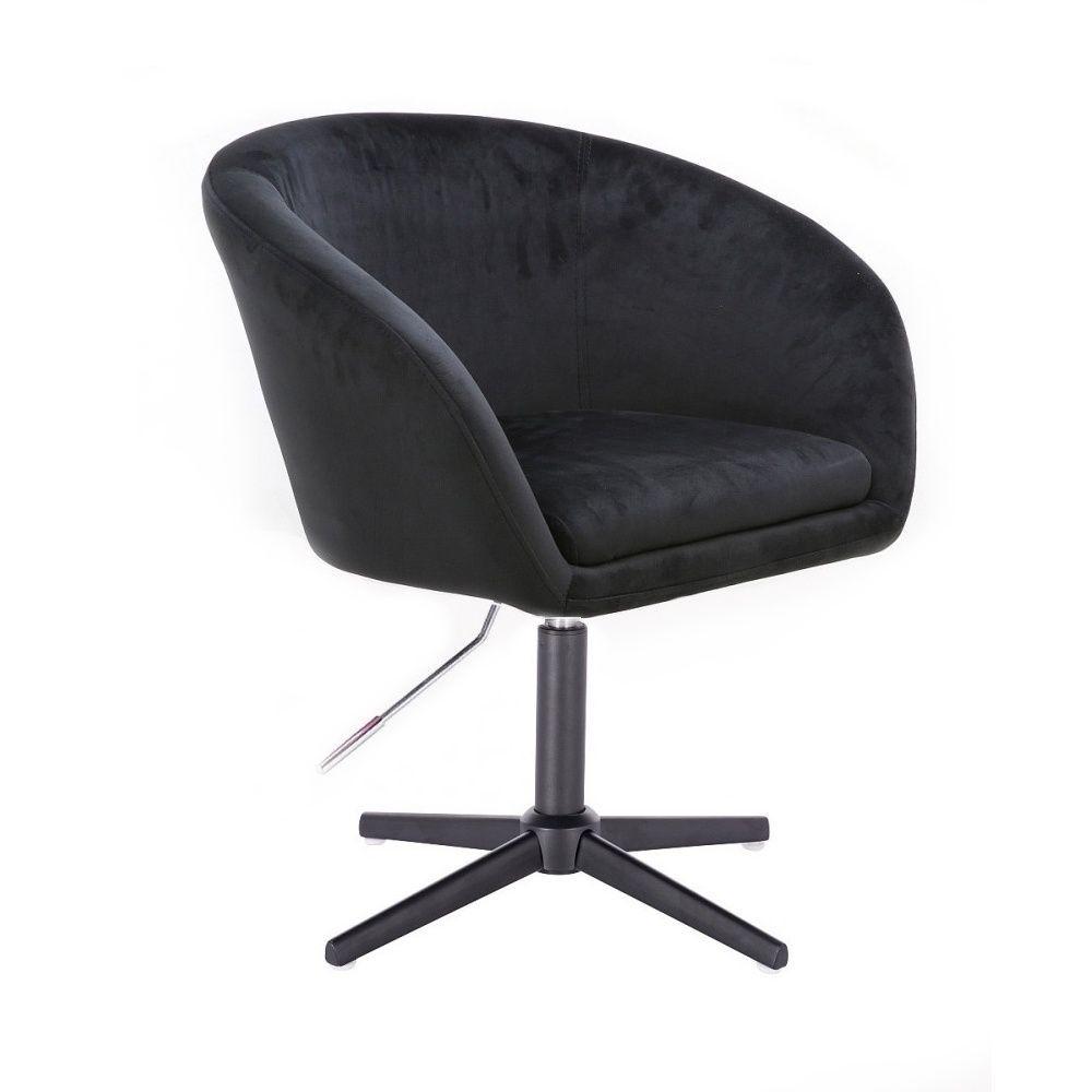 Židle VENICE VELUR na černém kříži - černá