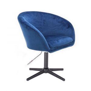 Židle VENICE VELUR na černém kříži - modrá