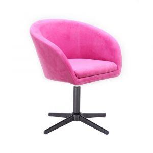 Židle VENICE VELUR na černém kříži - růžová