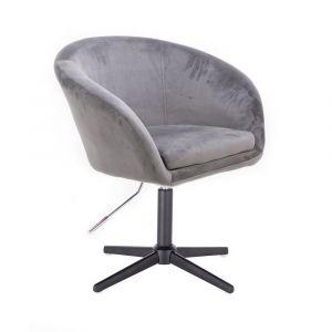 Židle VENICE VELUR na černém kříži - světle šedá
