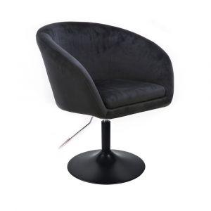 Židle VENICE VELUR na černém talíři - černá