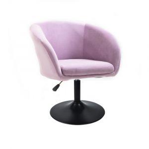 Židle VENICE VELUR na černém talíři - fialový vřes