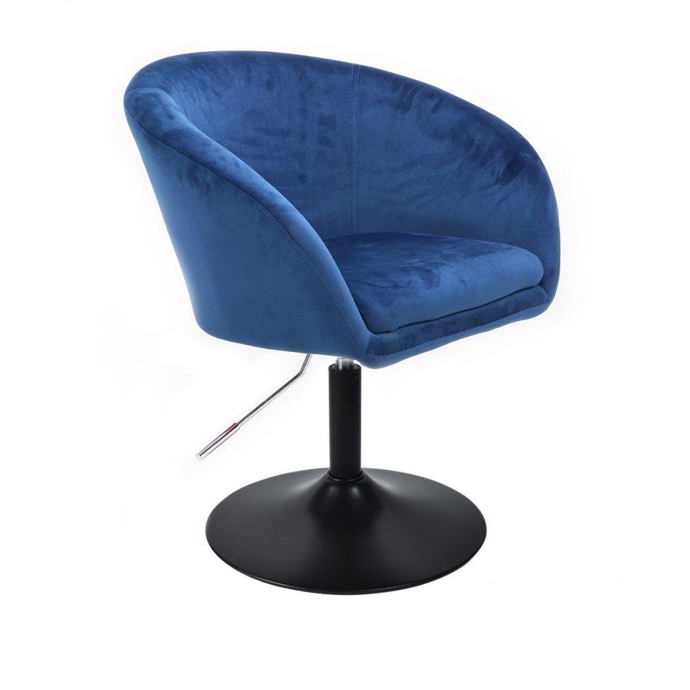 Židle VENICE VELUR na černém talíři - modrá