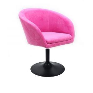 Židle VENICE VELUR na černém talíři - růžová