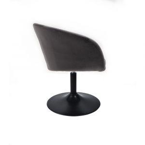 Židle VENICE VELUR na černém talíři - tmavě šedá