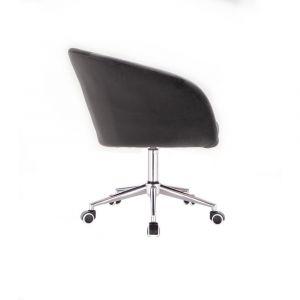 Židle VENICE VELUR na stříbrné podstavě s kolečky - tmavě šedá