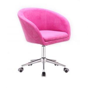Židle VENICE VELUR na stříbrné podstavě s kolečky - růžová