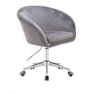 Židle VENICE VELUR na stříbrné podstavě s kolečky - světle šedá