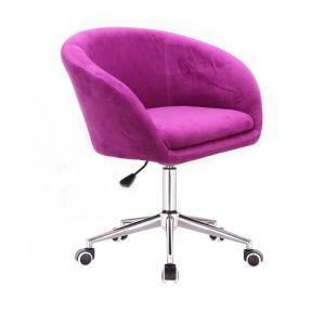Židle VENICE VELUR na stříbrné podstavě s kolečky - fuchsie