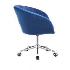 Židle VENICE VELUR na stříbrné podstavě s kolečky - modrá