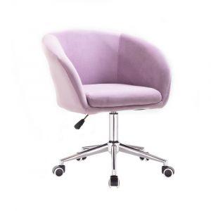 Židle VENICE VELUR na stříbrné podstavě s kolečky - fialový vřes