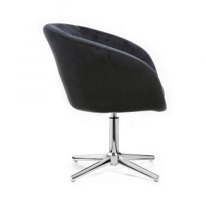 Židle VENICE VELUR na stříbrném kříži - černá