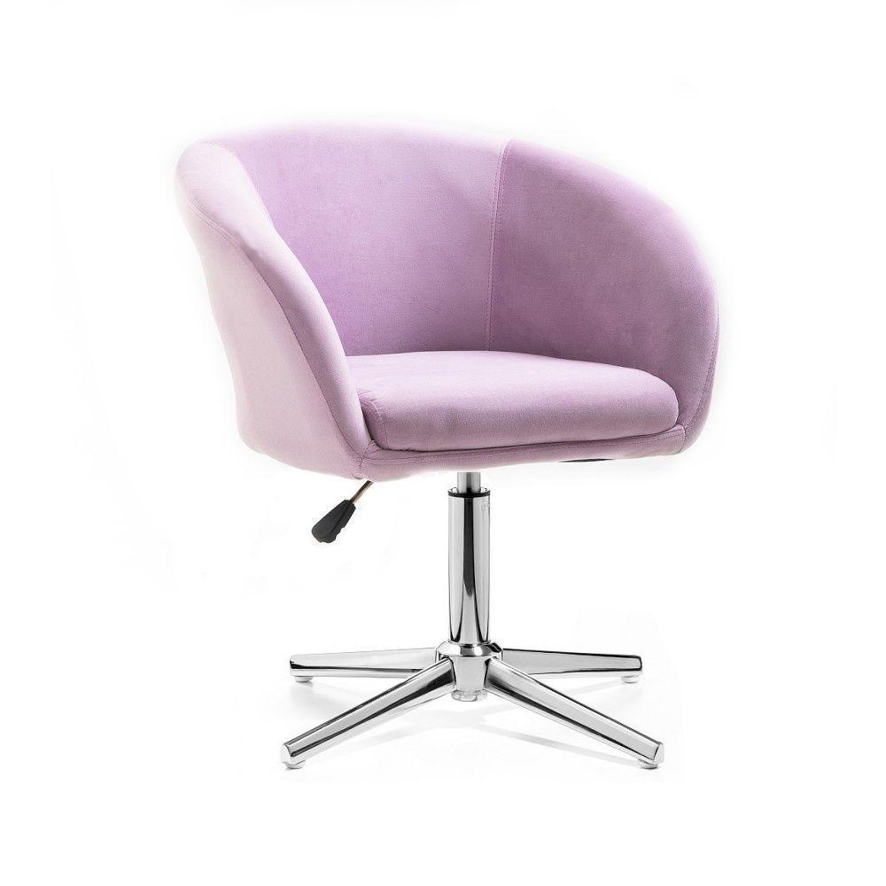 Židle VENICE VELUR na stříbrném kříži - fialový vřes