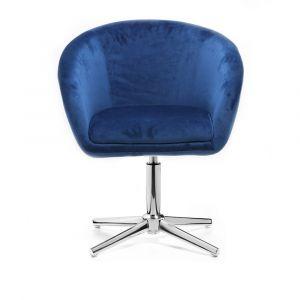 Židle VENICE VELUR na stříbrném kříži - modrá