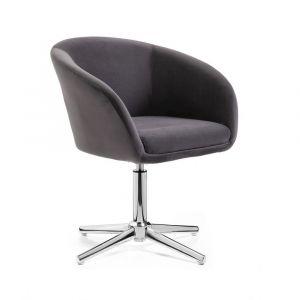 Židle VENICE VELUR na stříbrném kříži - tmavě šedá