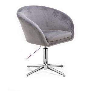 Židle VENICE VELUR na stříbrném kříži - světle šedá