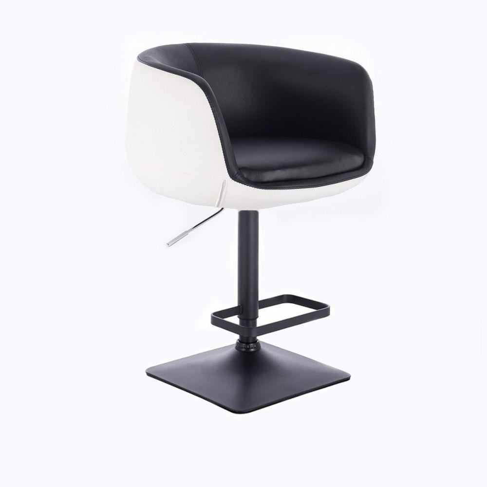 Barová židle MONTANA na černé podstavě - bílo-černá