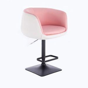 Barová židle MONTANA na černé podstavě - bílo-růžová