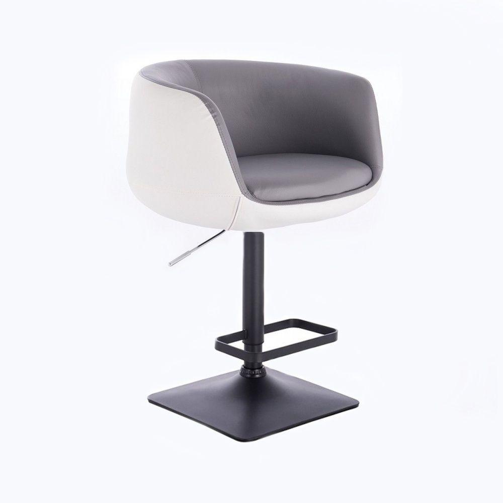 Barová židle MONTANA na černé podstavě - bílo-šedá