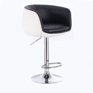 Barová židle MONTANA na stříbrném talíři - bílo-černá