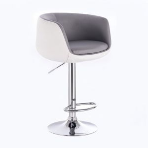 Barová židle MONTANA na stříbrném talíři - bílo-šedá
