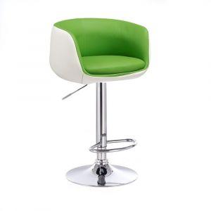Barová židle MONTANA na stříbrném talíři - bílo-zelená