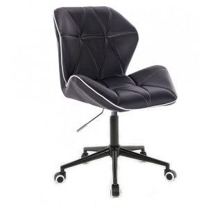Kosmetická židle MILANO MAX na černé podstavě s kolečky - černá