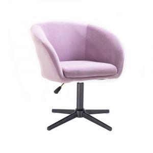 Kosmetická židle VENICE VELUR na černém kříži - fialový vřes