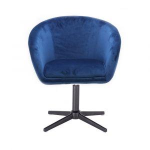 Kosmetická židle VENICE VELUR na černém kříži - modrá