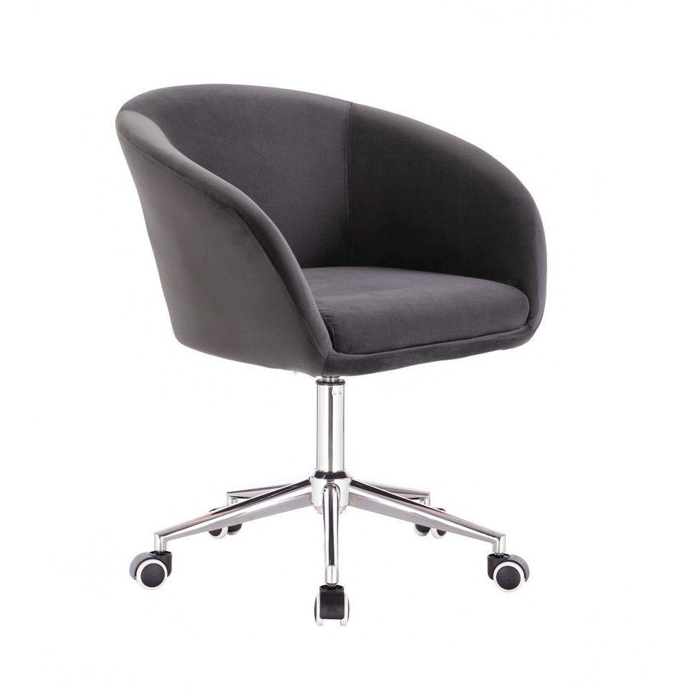 Kosmetická židle VENICE VELUR na stříbrné podstavě s kolečky - tmavě šedá