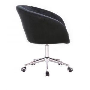 Kosmetická židle VENICE VELUR na stříbrné podstavě s kolečky - černá