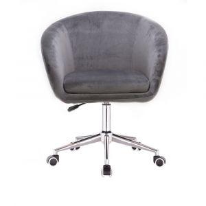Kosmetická židle VENICE VELUR na stříbrné podstavě s kolečky - světle šedá