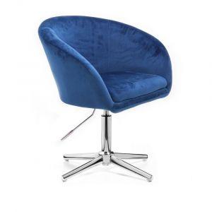 Kosmetická židle VENICE VELUR na stříbrném kříži - modrá