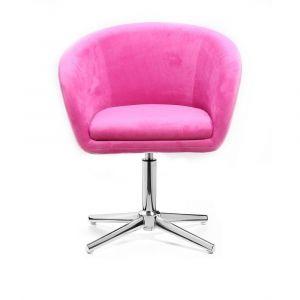 Kosmetická židle VENICE VELUR na stříbrném kříži - růžová