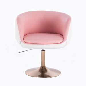 Kosmetické křeslo MONTANA na zlatém talíři - růžovobílé