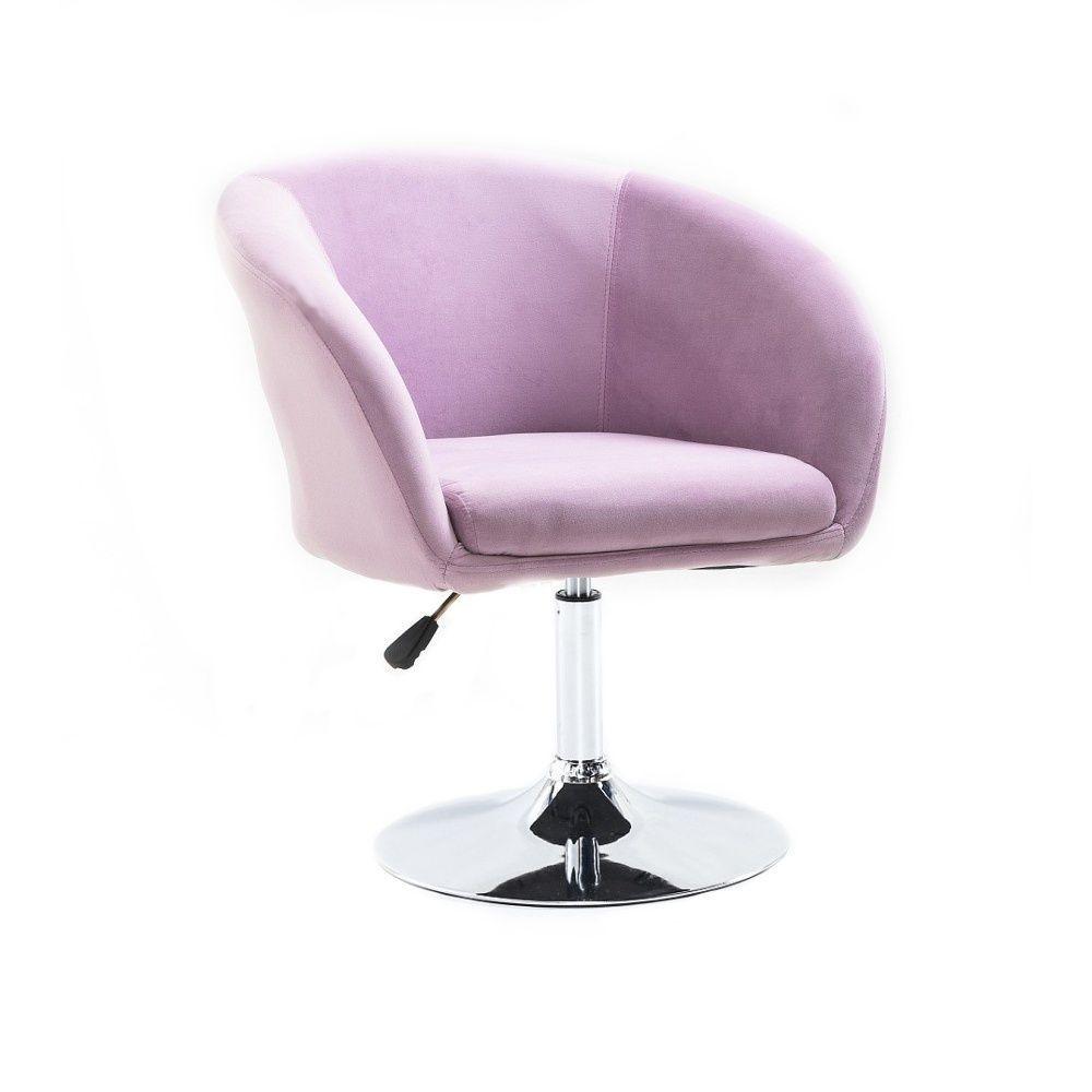 Židle VENICE VELUR na stříbrném talíři - fialový vřes