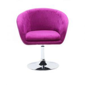 Židle VENICE VELUR na stříbrném talíři - fuchsie