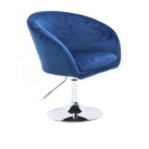 Židle VENICE VELUR na stříbrném talíři - modrá