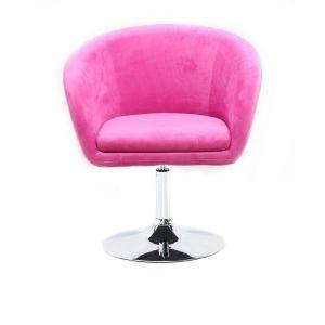 Židle VENICE VELUR na stříbrném talíři - růžová