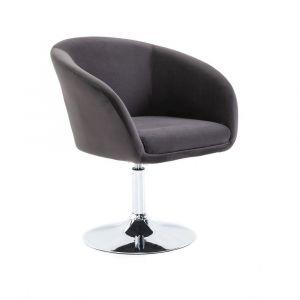 Židle VENICE VELUR na stříbrném talíři - tmavě šedá
