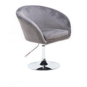 Židle VENICE VELUR na stříbrném talíři - světle šedá