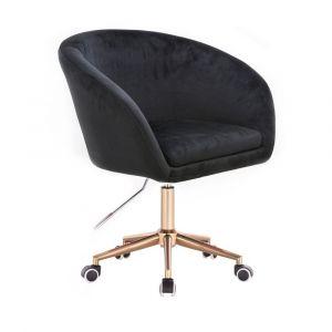 Židle VENICE VELUR na zlaté podstavě s kolečky - černá