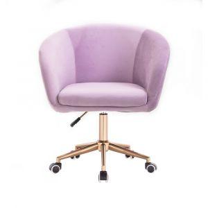 Židle VENICE VELUR na zlaté podstavě s kolečky - fialový vřes