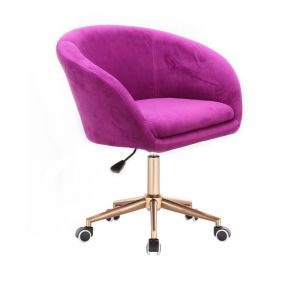Židle VENICE VELUR na zlaté podstavě s kolečky - fuchsie