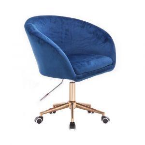 Židle VENICE VELUR na zlaté podstavě s kolečky - modrá
