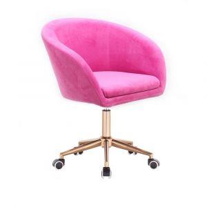 Židle VENICE VELUR na zlaté podstavě s kolečky - růžová