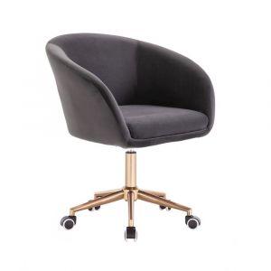 Židle VENICE VELUR na zlaté podstavě s kolečky - tmavě šedá