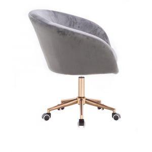 Židle VENICE VELUR na zlaté podstavě s kolečky - světle šedá